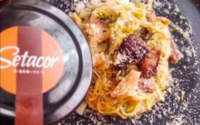 Espaguetis de calabacín con setas